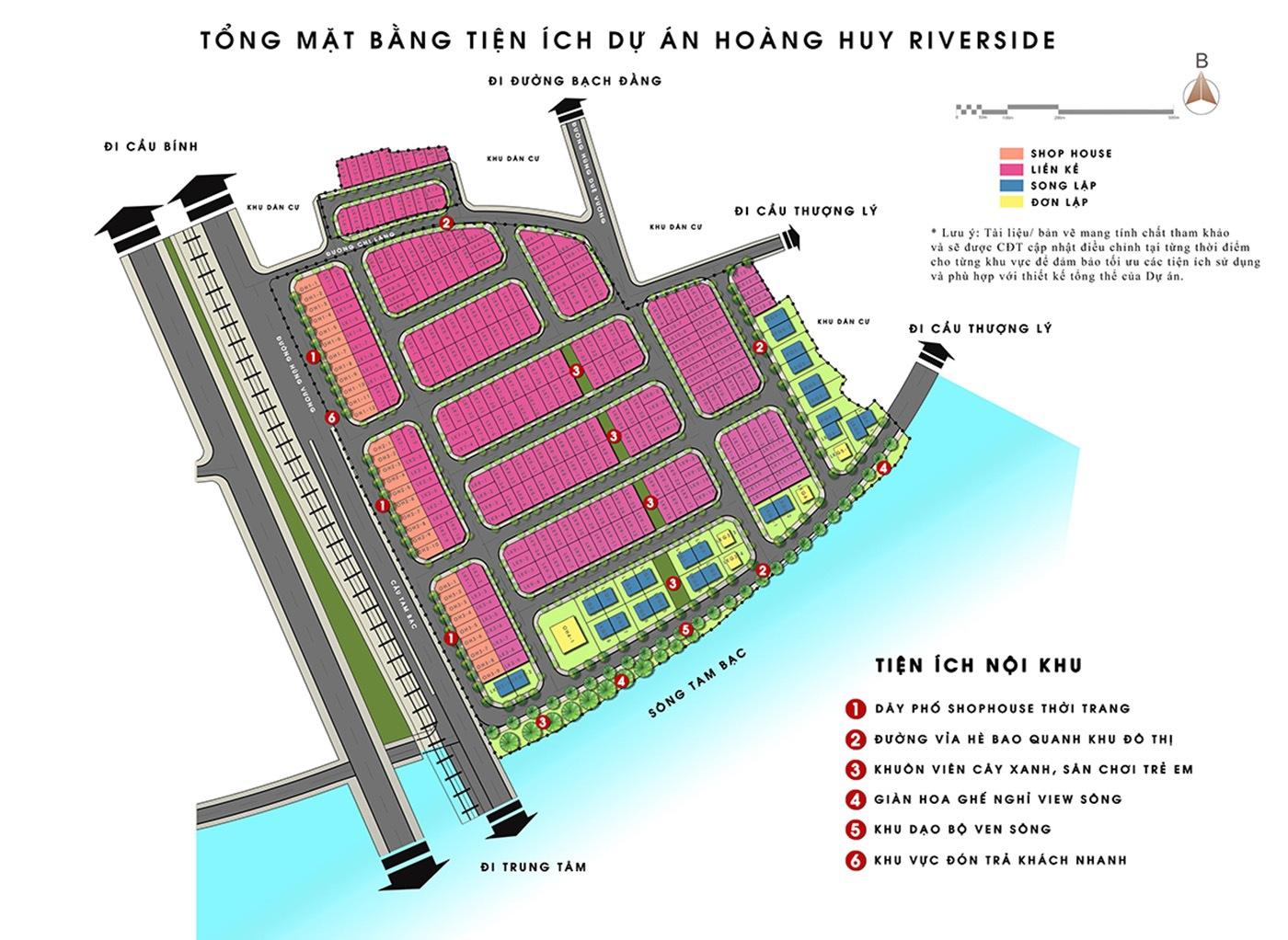 Mặt bằng phân lô dự án Hoàng Huy Riverside Sông Cấm