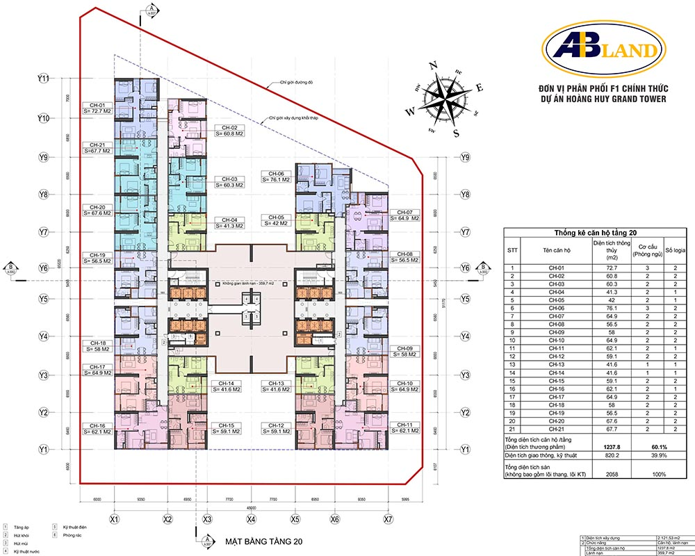 Mặt bằng tầng 20 dự án Hoàng Huy Grand Tower
