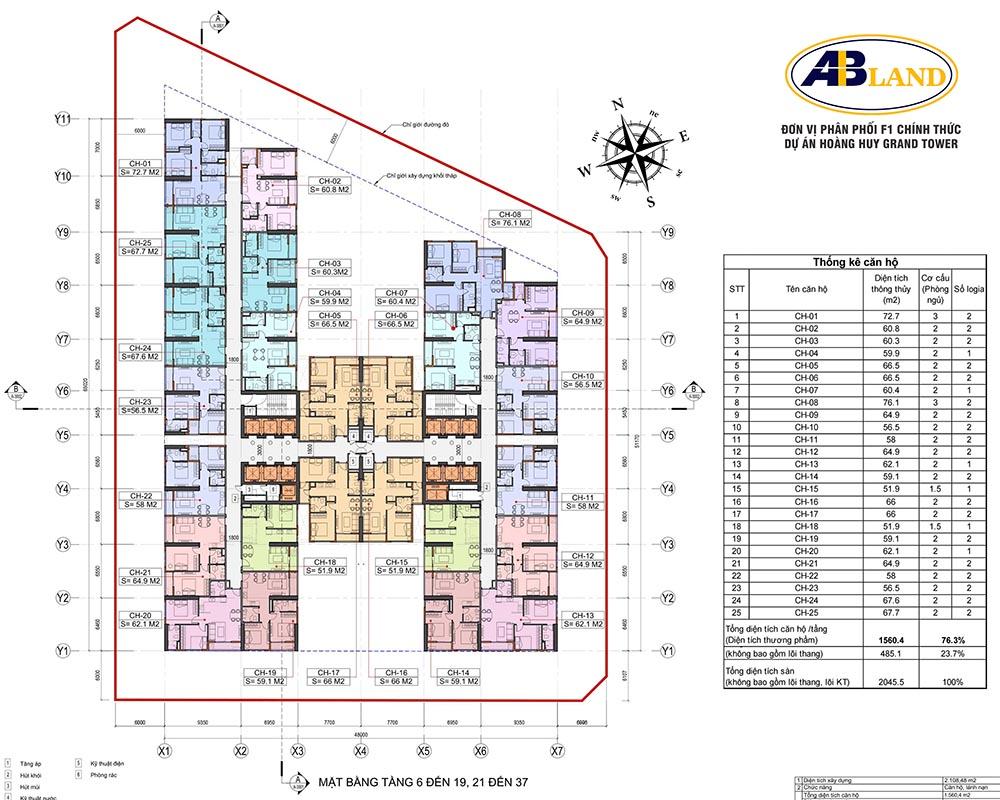 Mặt bằng tầng 6 đến 19, 21 đến 37 dự án Hoàng Huy Grand Tower